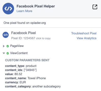 Facebook pixel ID simple product