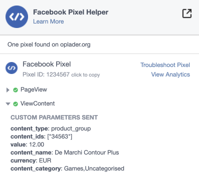 Facebook pixel ID variable product