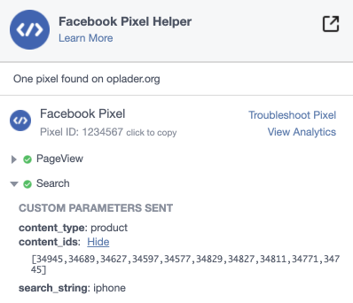 Facebook pixel search page