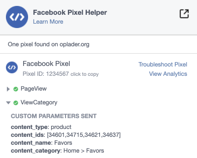 Facebook pixel product category page