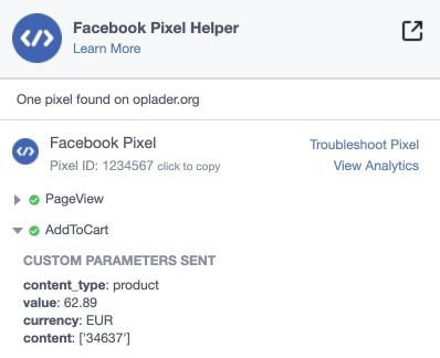 Facebook pixel cart page