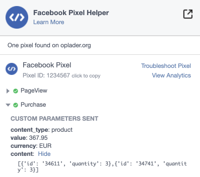 Facebook pixel purchase thank you page