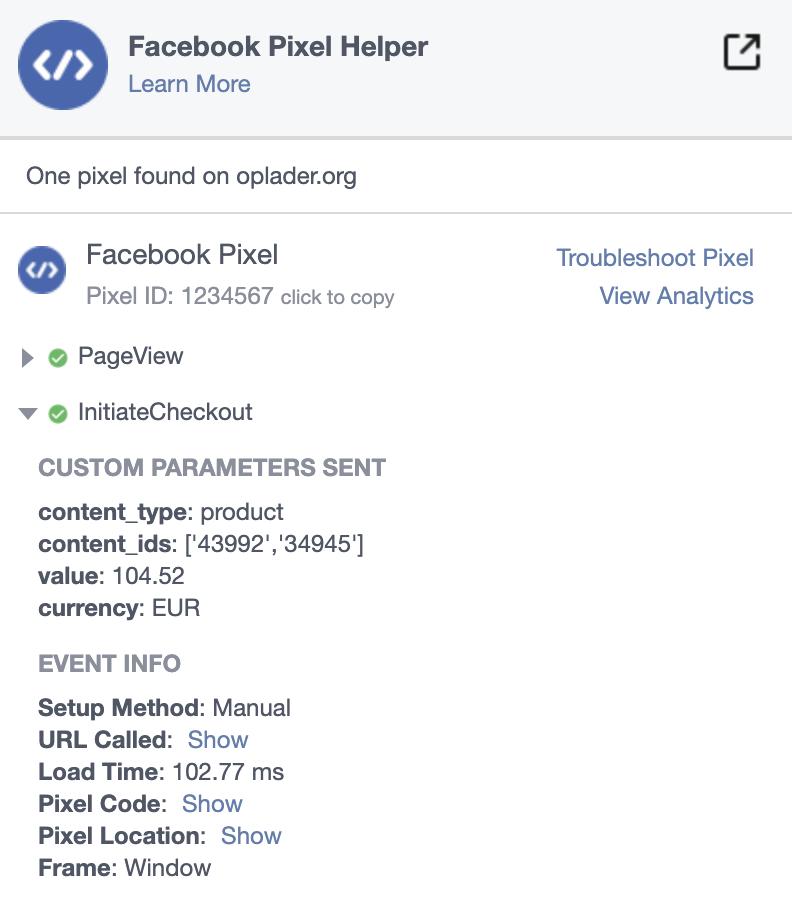 Facebook pixel on billing page