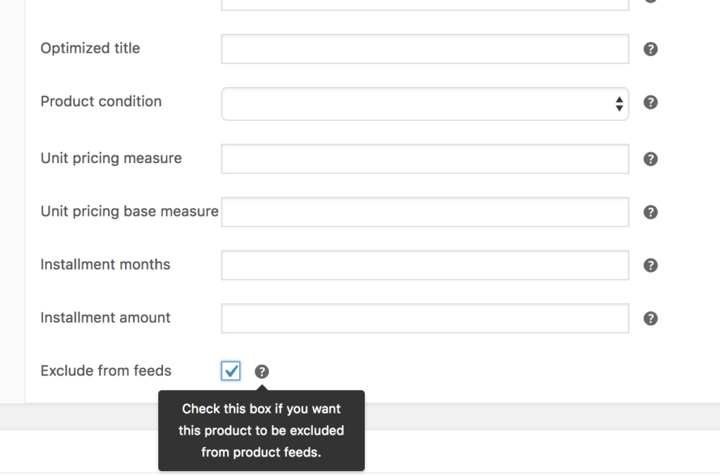 exclude products from your feed