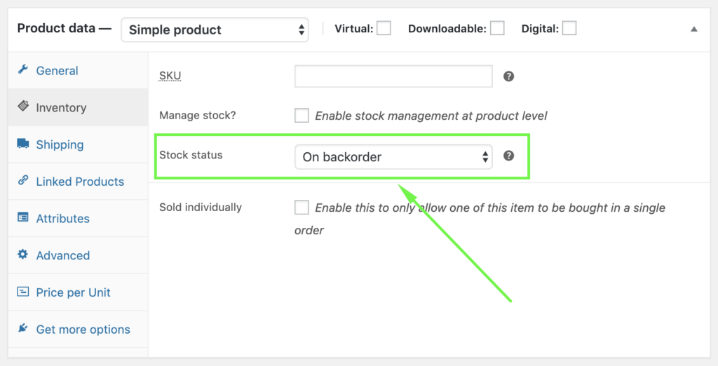 WooCommerce on backorder